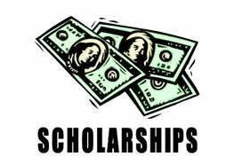 Scholarships title and cartoon money