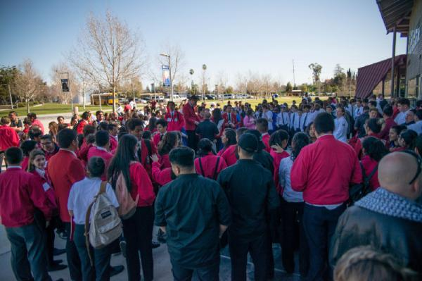 Students from across the Inland Empire gathered outside Campus Center for the SkillsUSA competition.