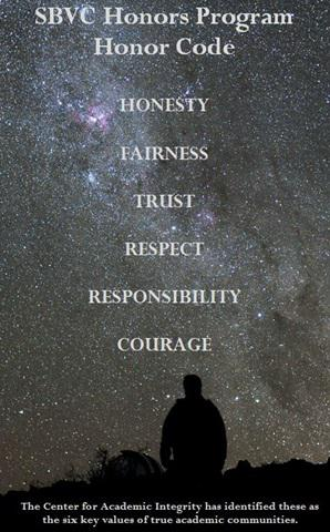 Starry Sky Image with 6 values of Academic Integrity