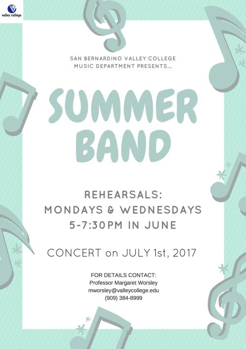Summer Band M/W 5-7:30 in June, July 1st Concert!