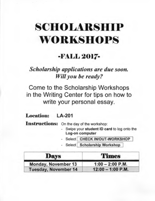 personal statement or essay writing center workshops