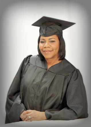 michelle jones headshot in cap and gown
