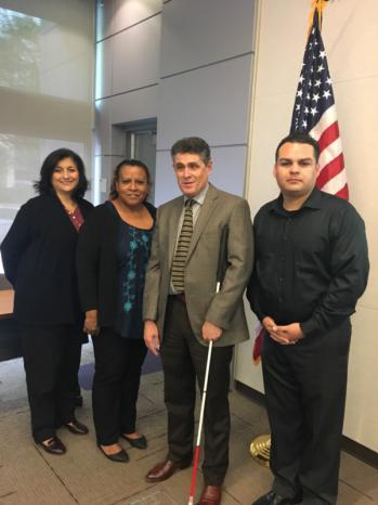 Joe Xavier, Director for the Department of Rehabilitation, with SBVC Workforce Development staff at the May IE Disabilities Collaborative Meeting.