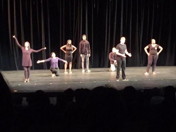 SBVC student Earl Decoud (center), performs at the national theatre festival in February.