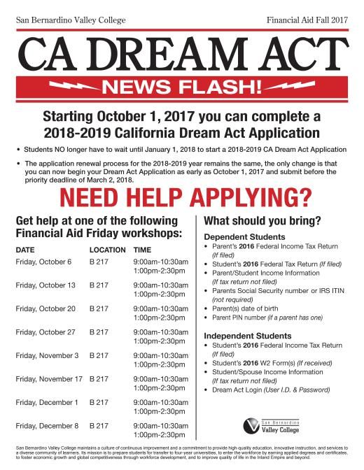 CA Dream Act Workshops