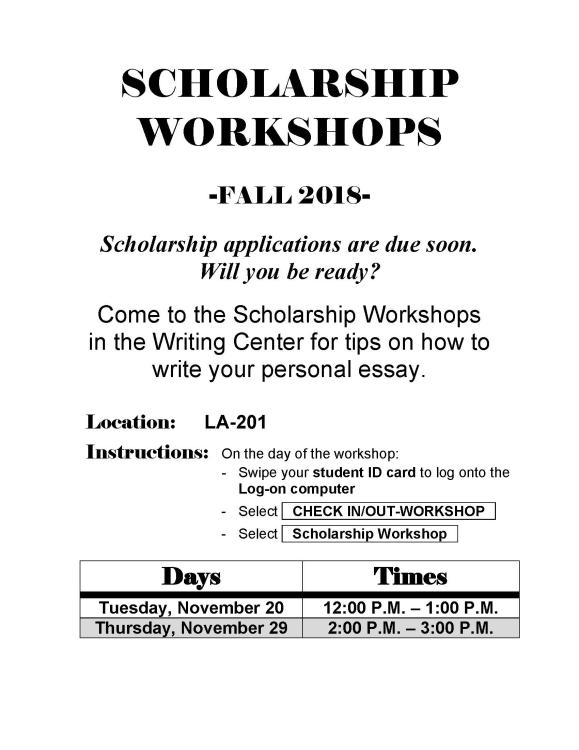 Personal Statement Or Essay Writing Center Scholarship Workshop