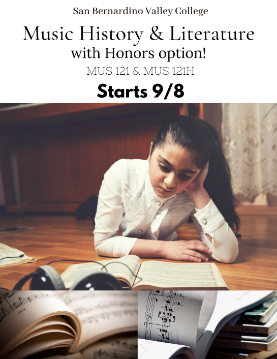 MUS 121/121H late start honors class! Register today!