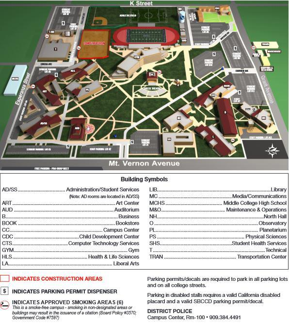 west valley campus map Maps Directions Parking San Bernardino Valley College west valley campus map