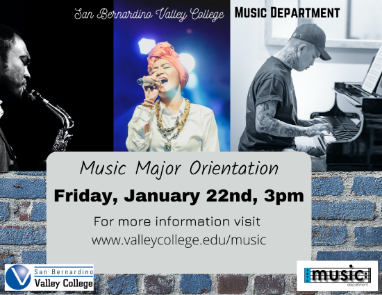 Music Major Orientation is Friday, January 22nd at 3pm!