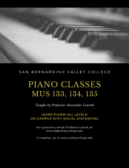 Piano classes 133 134 135 for Fall 2020 Semester