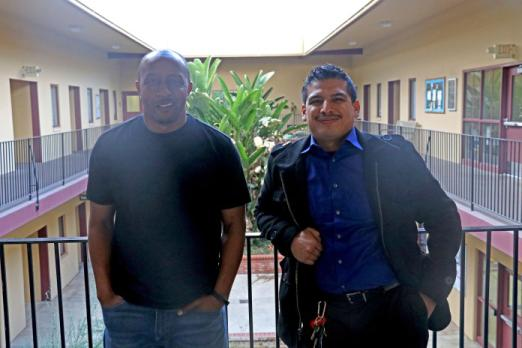 San Bernardino Valley College English Professor Edward Jones and Cal State San Bernardino student Juan Hernandez.