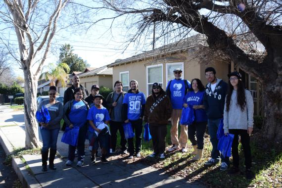 President Diana Z. Rodriguez with members of her volunteer team on Magnolia Street in San Bernardino.