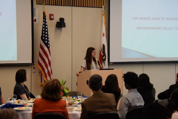 Valley-Bound alumna Natalie Reeves speaks during the Valley-Bound Luncheon on March 10.