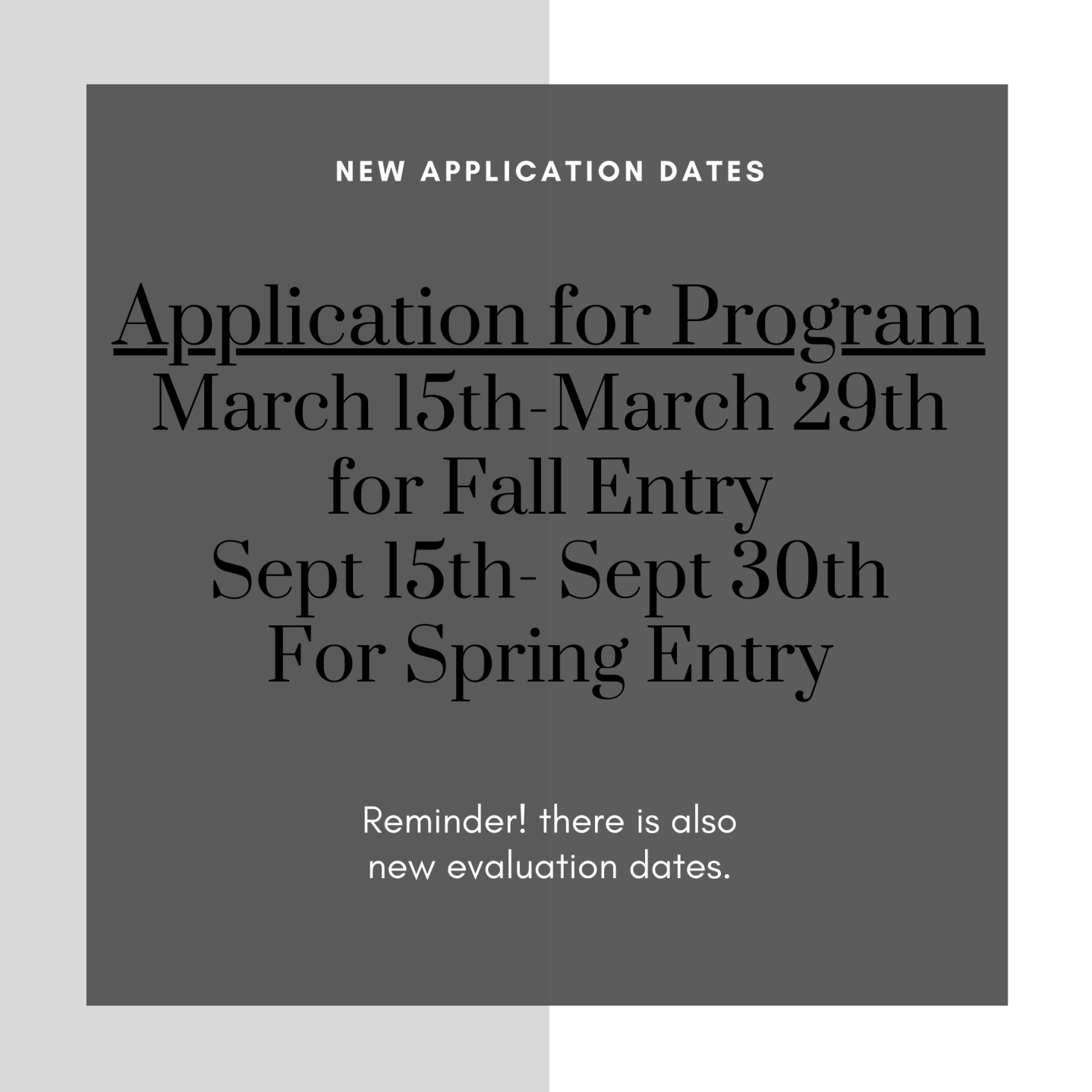 Flyer of application dates