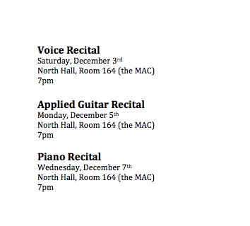 Recital Schedule for end of F16