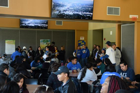Student and employee volunteers assembled in SBVC's Campus Center for a brief meeting prior to departure.