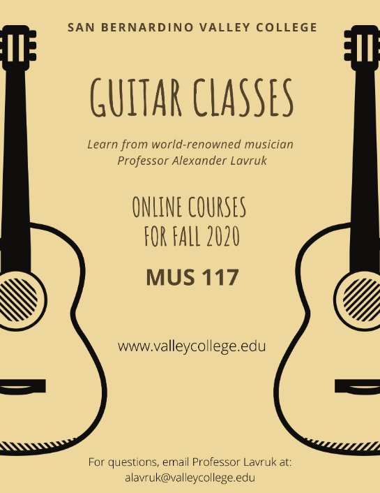 Guitar Classes online for fall 2020