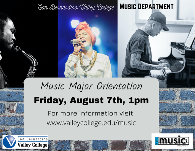 Music Major Orientation August 7th at 1pm!