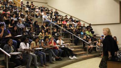 SBVC President Dr. Debra Daniels welcomes new Valley-Bound Commitment students during their first day on campus in July.