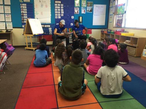SBVC Football Players Reach Out to Elementary School Students