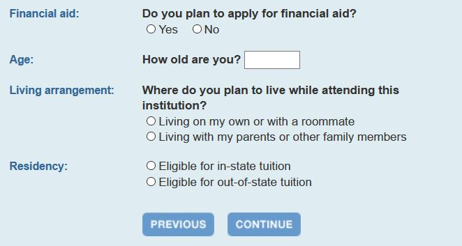 Calculate your college costs