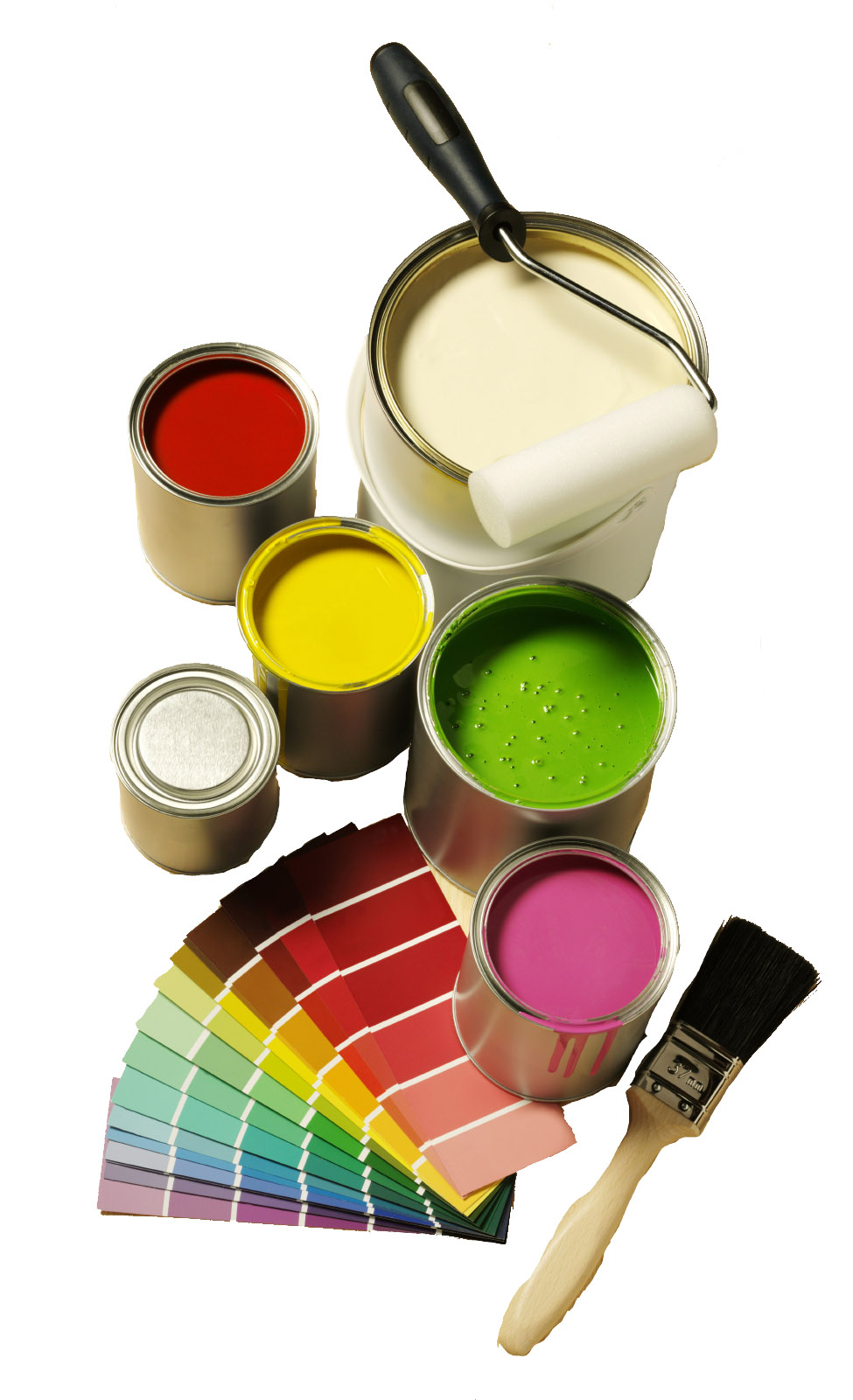 paint cans, swatches, brushes in bright colors